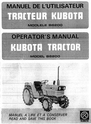 Manuel d'utilisation et entretien tracteur Kubota B8200